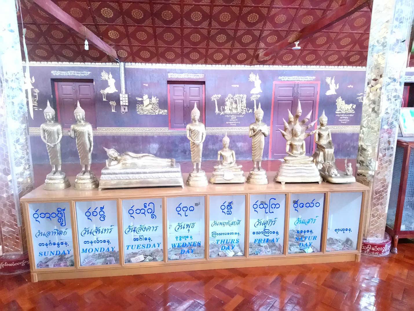 Planetenandachtsstätte im Wat Jong Kham. Rahu ganz rechts, dargestellt durch die Szene im Parilayaka Forest